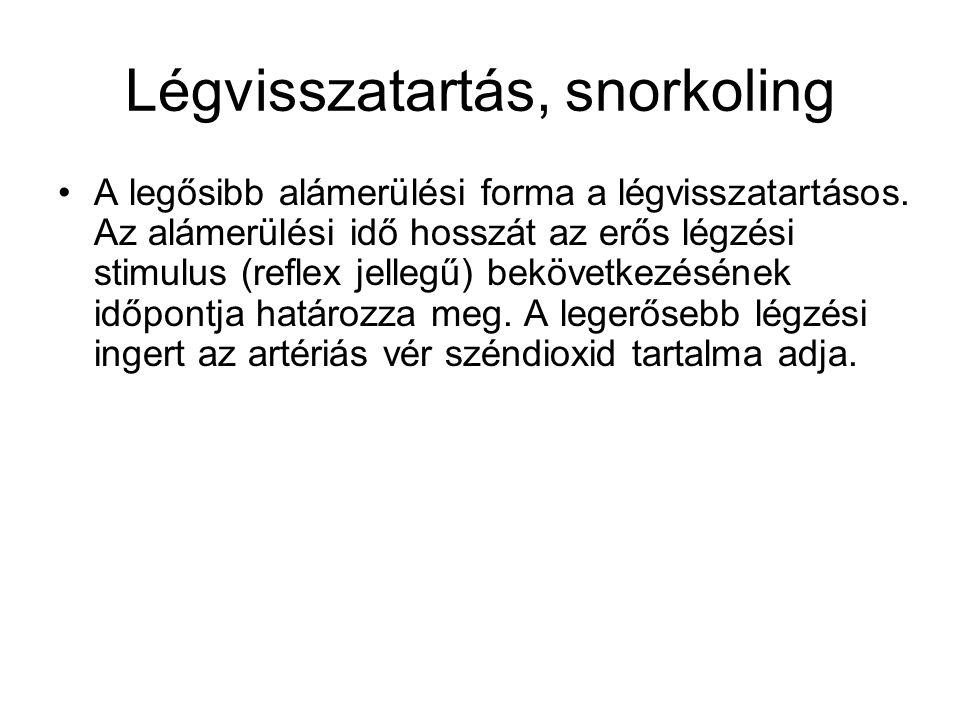 Légvisszatartás, snorkoling •A legősibb alámerülési forma a légvisszatartásos. Az alámerülési idő hosszát az erős légzési stimulus (reflex jellegű) be