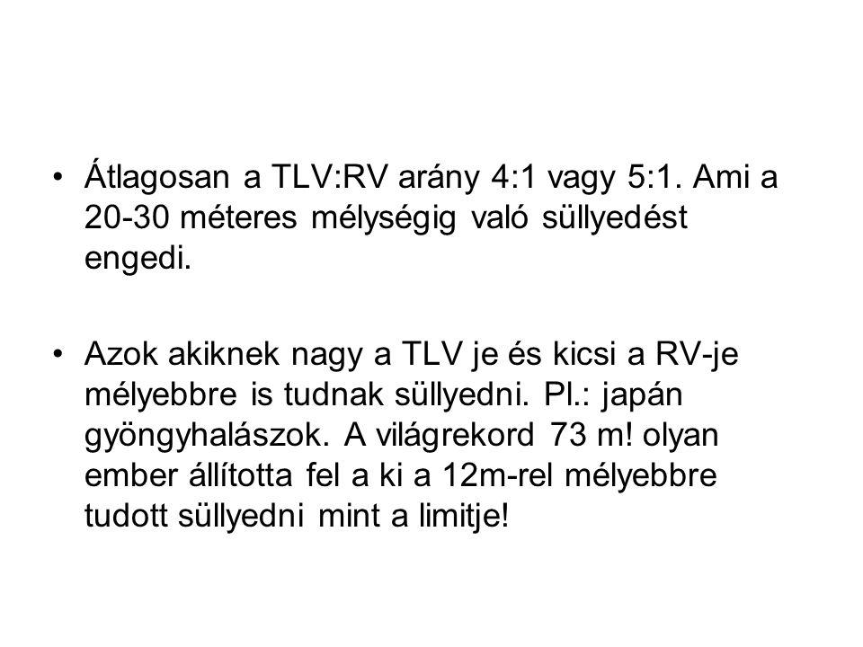 •Átlagosan a TLV:RV arány 4:1 vagy 5:1. Ami a 20-30 méteres mélységig való süllyedést engedi. •Azok akiknek nagy a TLV je és kicsi a RV-je mélyebbre i