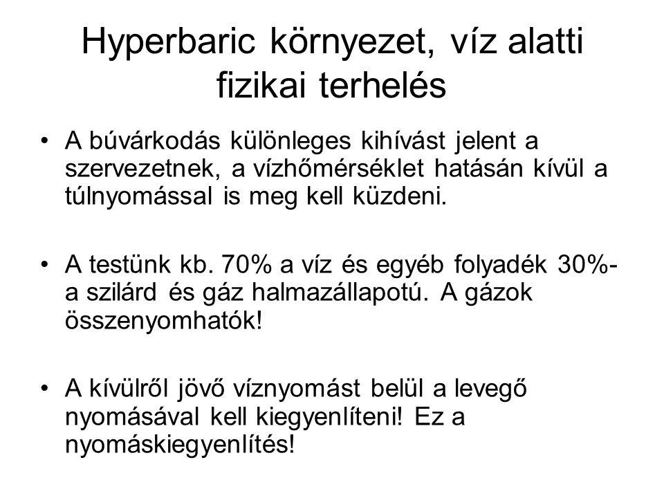 Hyperbaric környezet, víz alatti fizikai terhelés •A búvárkodás különleges kihívást jelent a szervezetnek, a vízhőmérséklet hatásán kívül a túlnyomáss