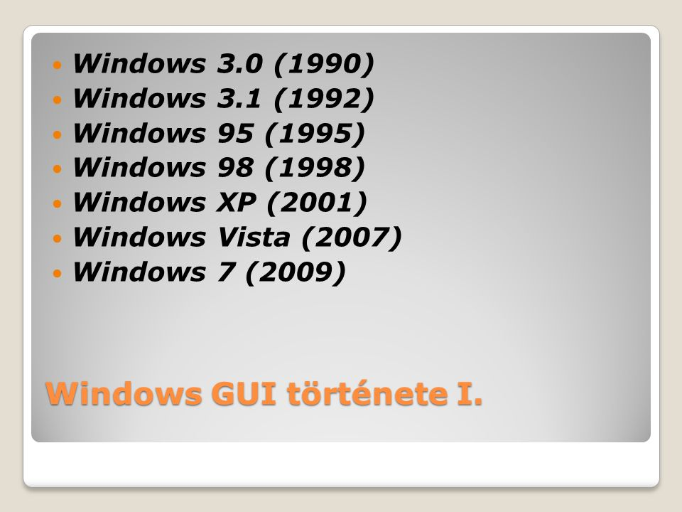 Windows GUI története I.  Windows 3.0 (1990)  Windows 3.1 (1992)  Windows 95 (1995)  Windows 98 (1998)  Windows XP (2001)  Windows Vista (2007)