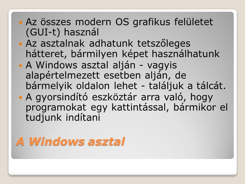 A Windows asztal  Az összes modern OS grafikus felületet (GUI-t) használ  Az asztalnak adhatunk tetszőleges hátteret, bármilyen képet használhatunk