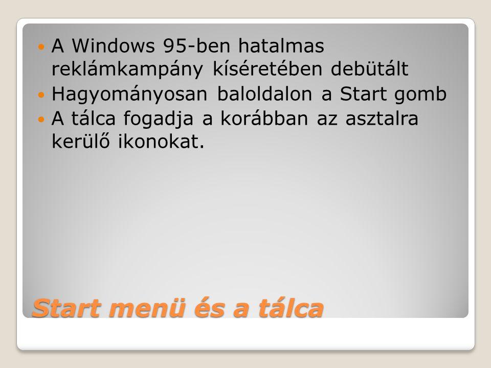 Start menü és a tálca  A Windows 95-ben hatalmas reklámkampány kíséretében debütált  Hagyományosan baloldalon a Start gomb  A tálca fogadja a koráb