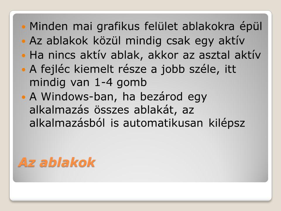 Az ablakok  Minden mai grafikus felület ablakokra épül  Az ablakok közül mindig csak egy aktív  Ha nincs aktív ablak, akkor az asztal aktív  A fej
