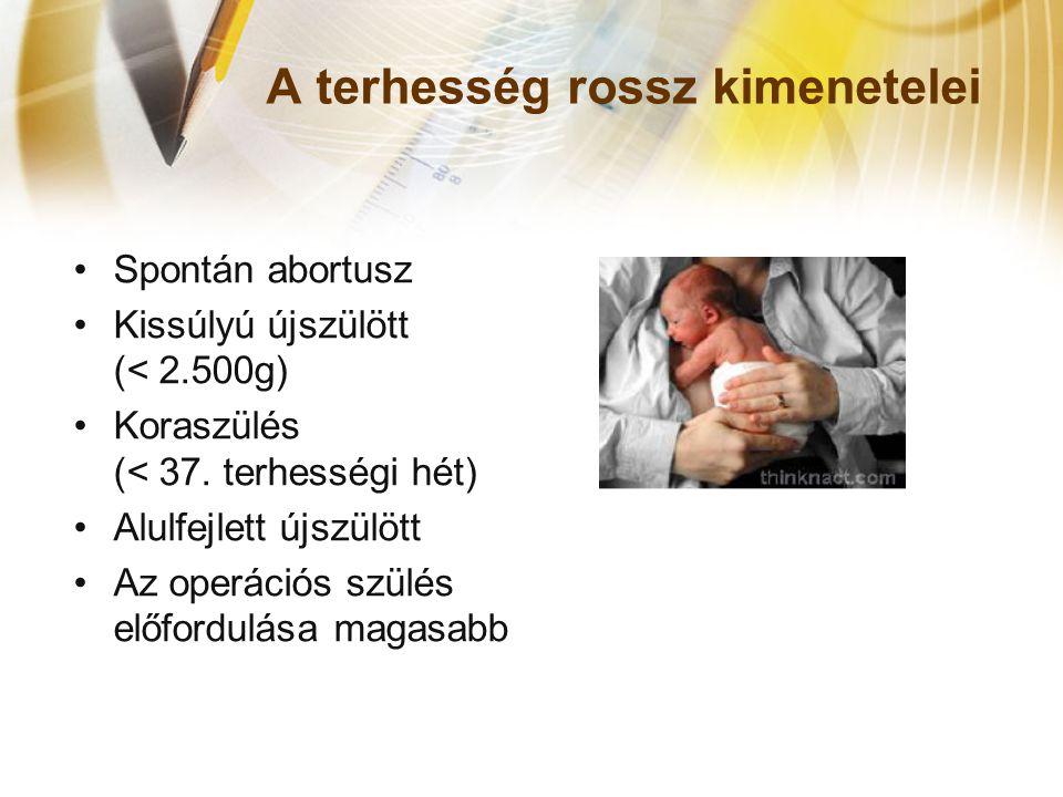 A terhesség rossz kimenetelei •Spontán abortusz •Kissúlyú újszülött (< 2.500g) •Koraszülés (< 37. terhességi hét) •Alulfejlett újszülött •Az operációs