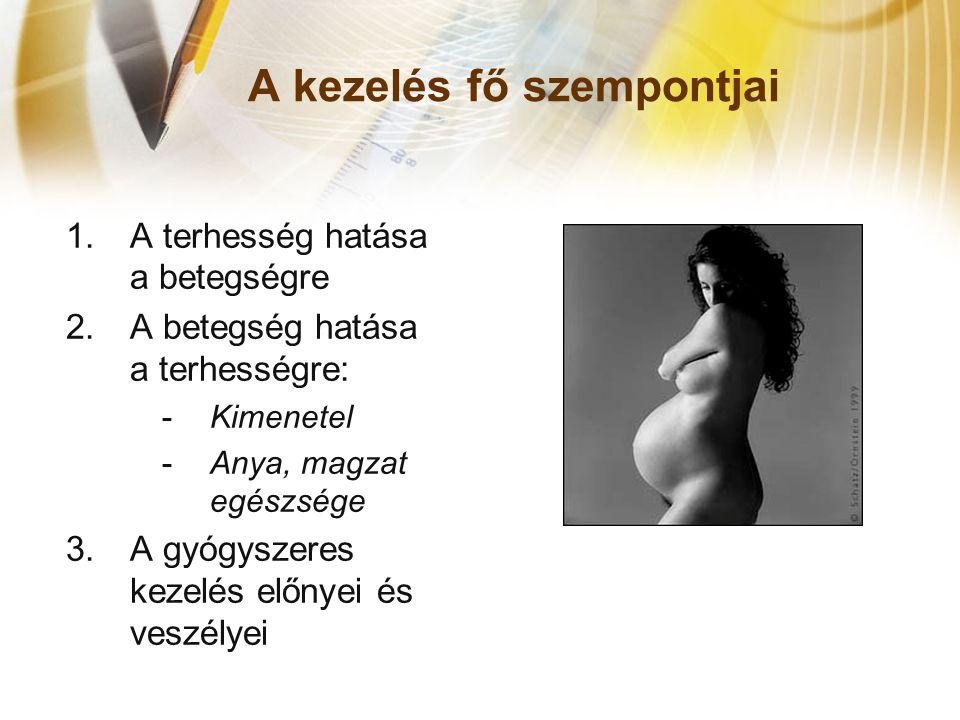 A kezelés fő szempontjai 1.A terhesség hatása a betegségre 2.A betegség hatása a terhességre: -Kimenetel -Anya, magzat egészsége 3.A gyógyszeres kezel