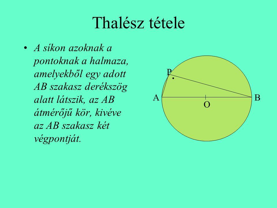 Thalész tétele •A síkon azoknak a pontoknak a halmaza, amelyekből egy adott AB szakasz derékszög alatt látszik, az AB átmérőjű kör, kivéve az AB szakasz két végpontját.