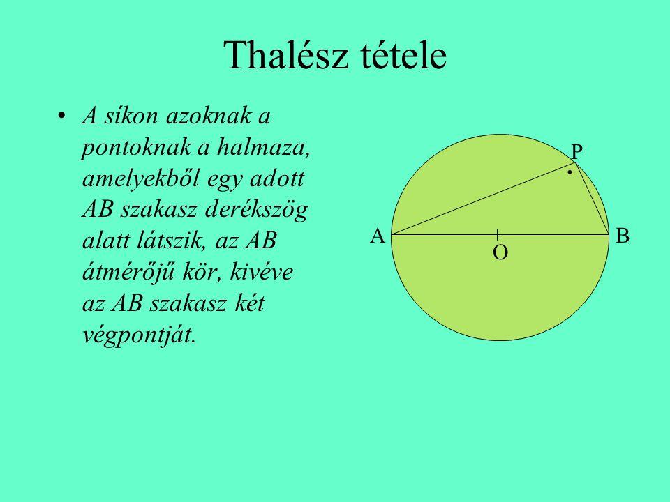 Thalész tétele •A síkon azoknak a pontoknak a halmaza, amelyekből egy adott AB szakasz derékszög alatt látszik, az AB átmérőjű kör, kivéve az AB szaka