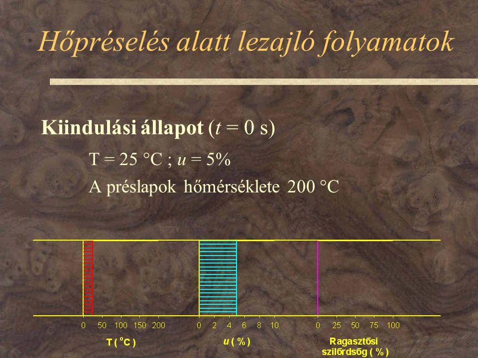Hőpréselés alatt lezajló folyamatok Kiindulási állapot (t = 0 s) T = 25  C ; u = 5% A préslapok hőmérséklete 200  C