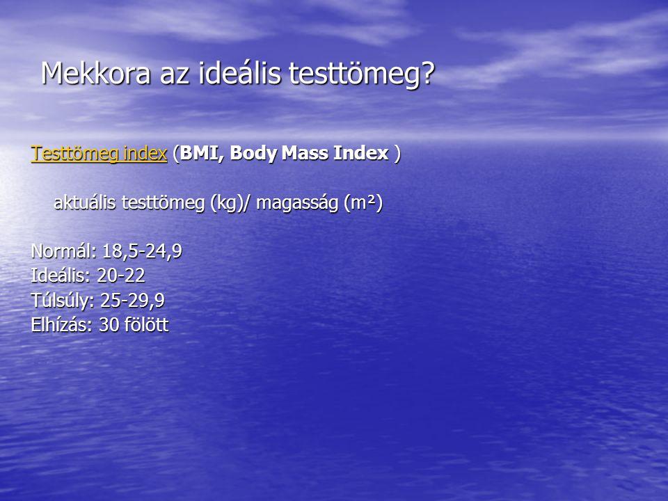 Mekkora az ideális testtömeg? Testtömeg index (BMI, Body Mass Index ) aktuális testtömeg (kg)/ magasság (m²) aktuális testtömeg (kg)/ magasság (m²) No