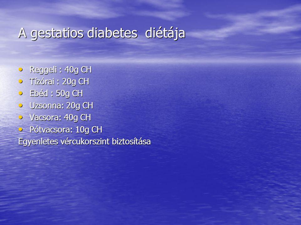 A gestatios diabetes diétája • Reggeli : 40g CH • Tízórai : 20g CH • Ebéd : 50g CH • Uzsonna: 20g CH • Vacsora: 40g CH • Pótvacsora: 10g CH Egyenletes