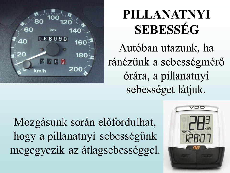 PILLANATNYI SEBESSÉG Autóban utazunk, ha ránézünk a sebességmérő órára, a pillanatnyi sebességet látjuk.