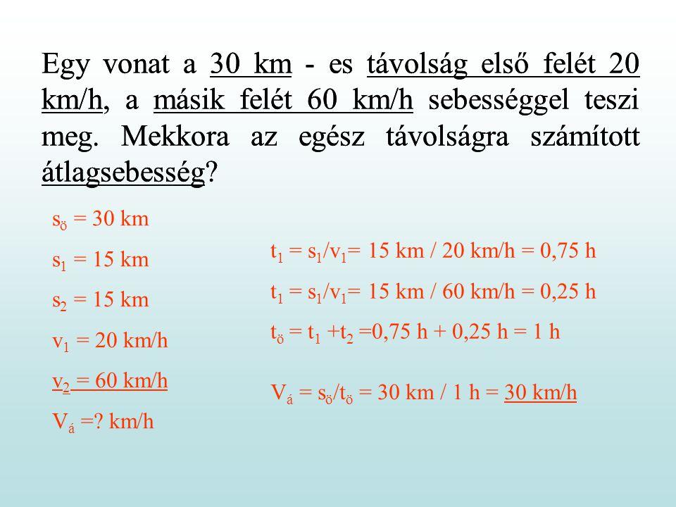 Egy vonat a 30 km - es távolság első felét 20 km/h, a másik felét 60 km/h sebességgel teszi meg.