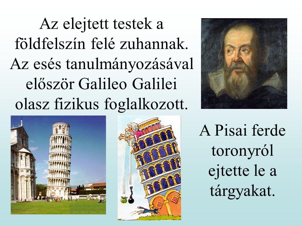 A Pisai ferde toronyról ejtette le a tárgyakat.Az elejtett testek a földfelszín felé zuhannak.