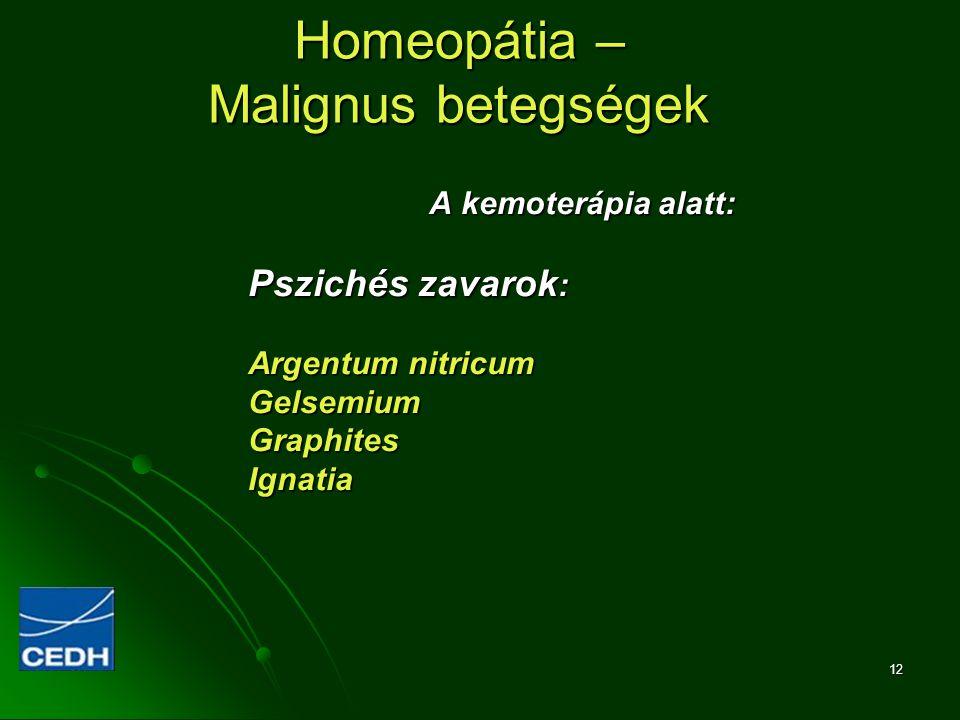 12 Homeopátia – Malignus betegségek A kemoterápia alatt: Pszichés zavarok : Argentum nitricum GelsemiumGraphitesIgnatia