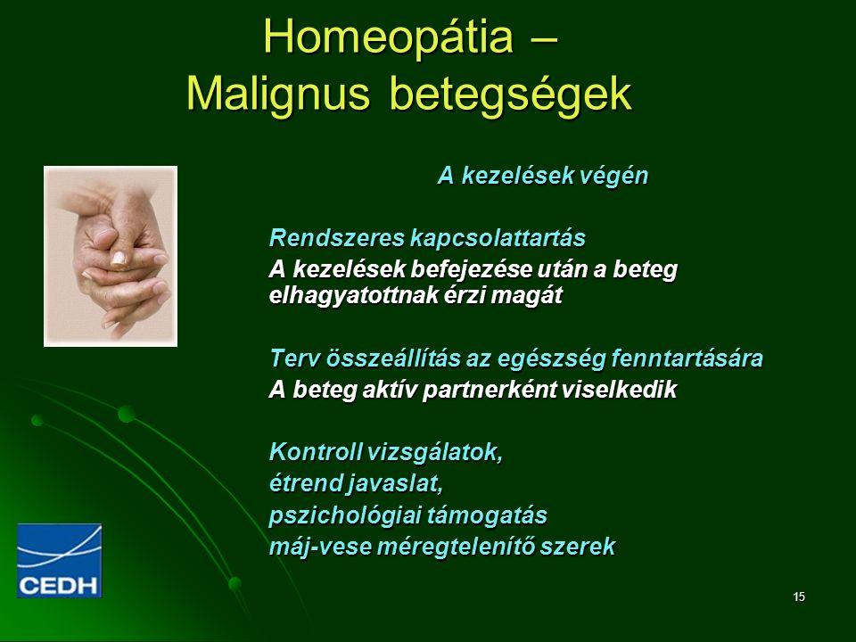 15 Homeopátia – Malignus betegségek A kezelések végén Rendszeres kapcsolattartás A kezelések befejezése után a beteg elhagyatottnak érzi magát Terv ös