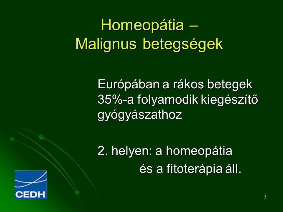 3 Homeopátia – Malignus betegségek Európában a rákos betegek 35%-a folyamodik kiegészítő gyógyászathoz 2. helyen: a homeopátia és a fitoterápia áll. é