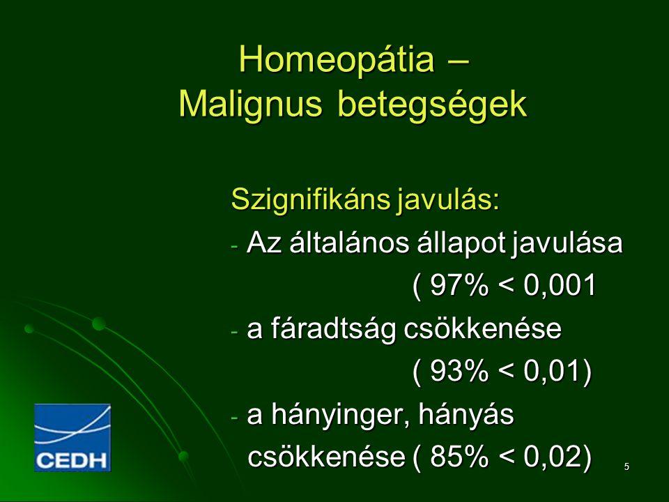 5 Homeopátia – Malignus betegségek Szignifikáns javulás: - Az általános állapot javulása ( 97% < 0,001 ( 97% < 0,001 - a fáradtság csökkenése ( 93% <