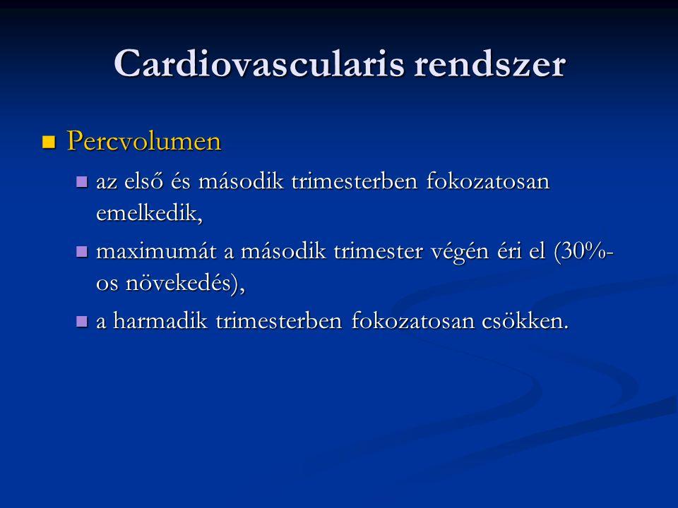 Cardiovascularis rendszer  Percvolumen  az első és második trimesterben fokozatosan emelkedik,  maximumát a második trimester végén éri el (30%- os