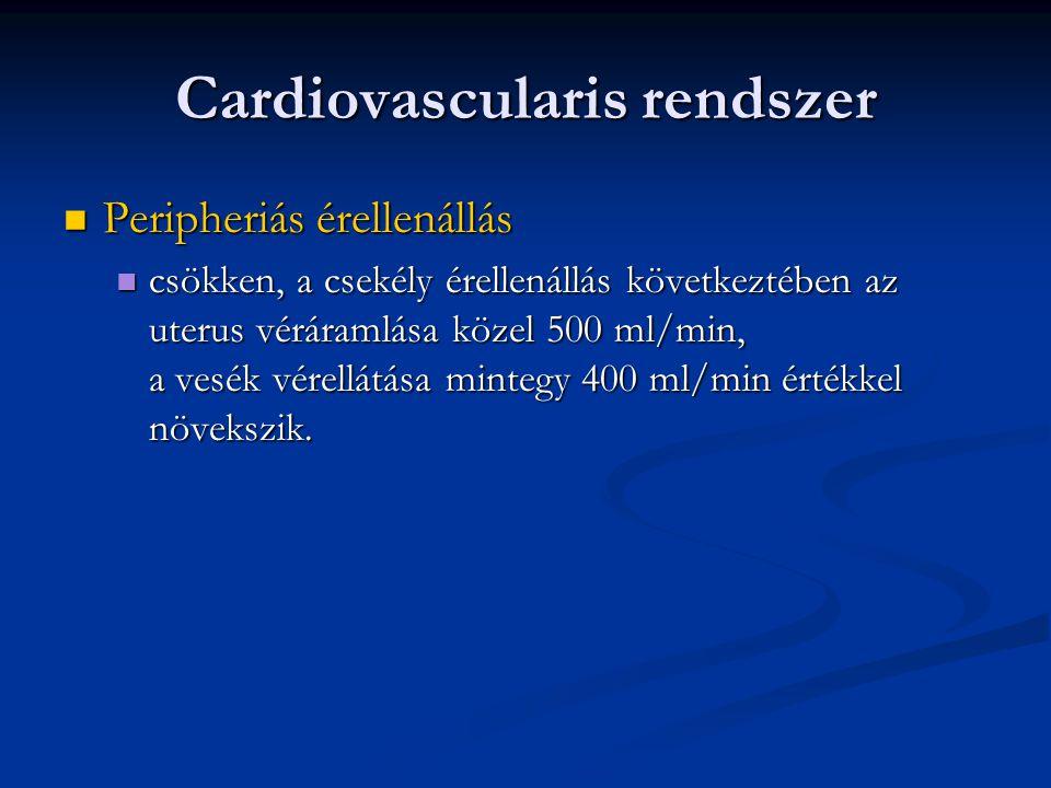 Cardiovascularis rendszer  Peripheriás érellenállás  csökken, a csekély érellenállás következtében az uterus véráramlása közel 500 ml/min, a vesék v