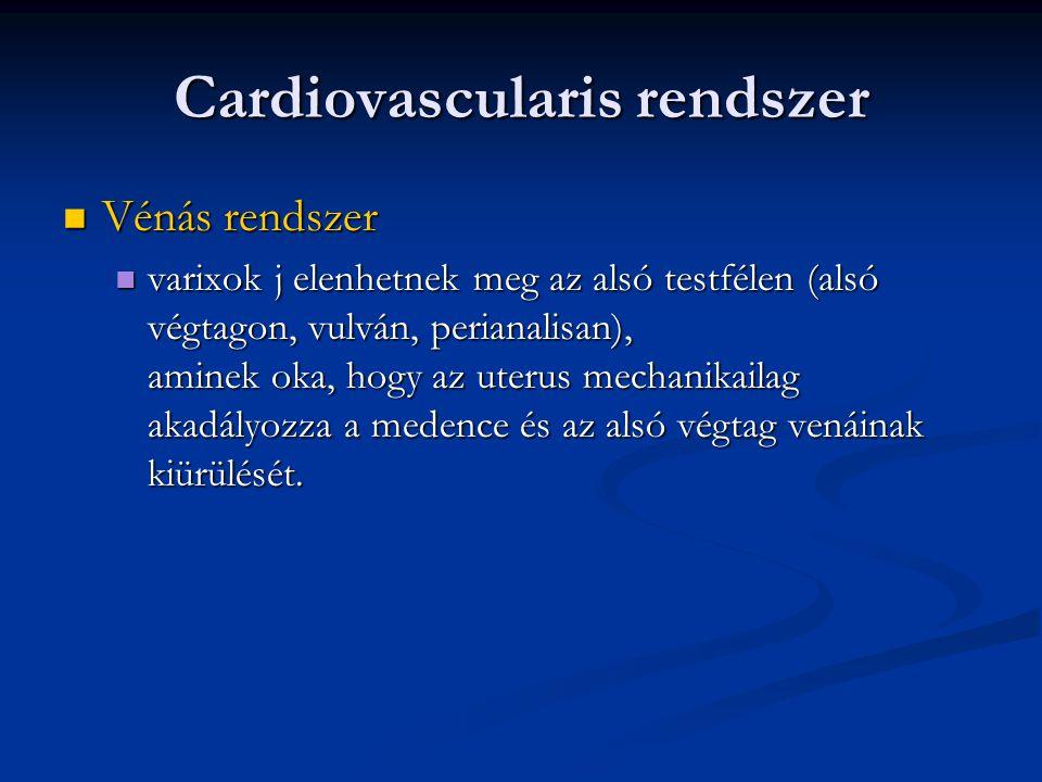 Cardiovascularis rendszer  Vénás rendszer  varixok j elenhetnek meg az alsó testfélen (alsó végtagon, vulván, perianalisan), aminek oka, hogy az ute