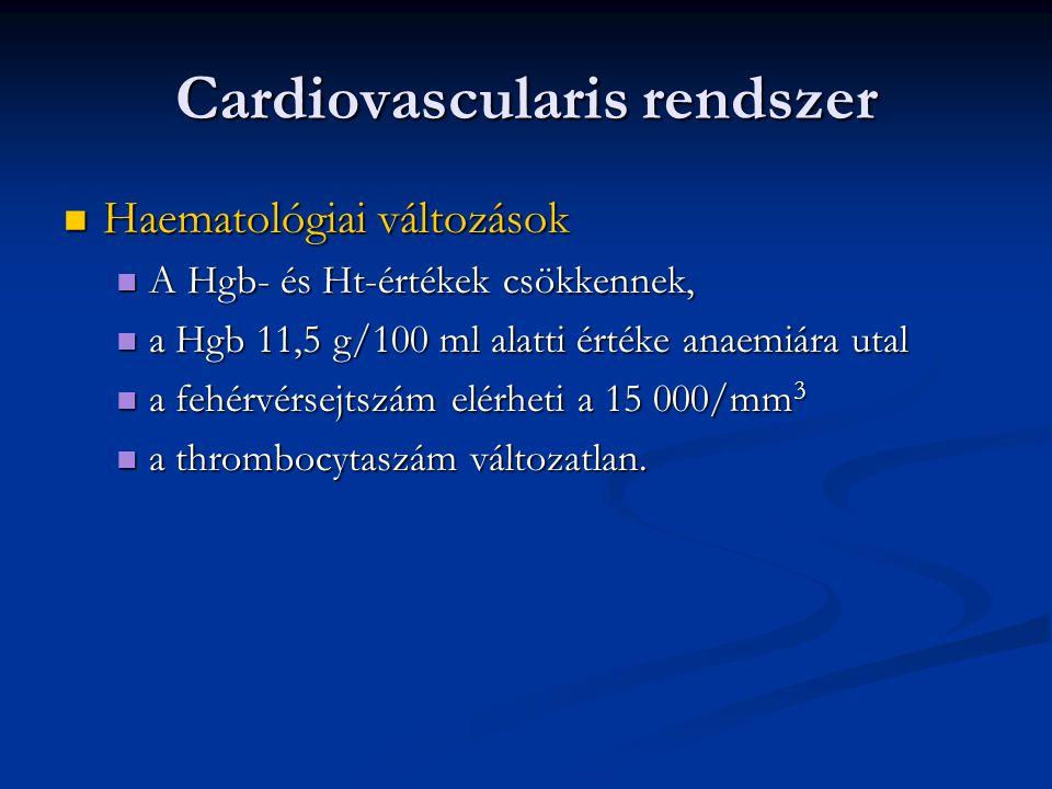 Cardiovascularis rendszer  Haematológiai változások  A Hgb- és Ht-értékek csökkennek,  a Hgb 11,5 g/100 ml alatti értéke anaemiára utal  a fehérvé