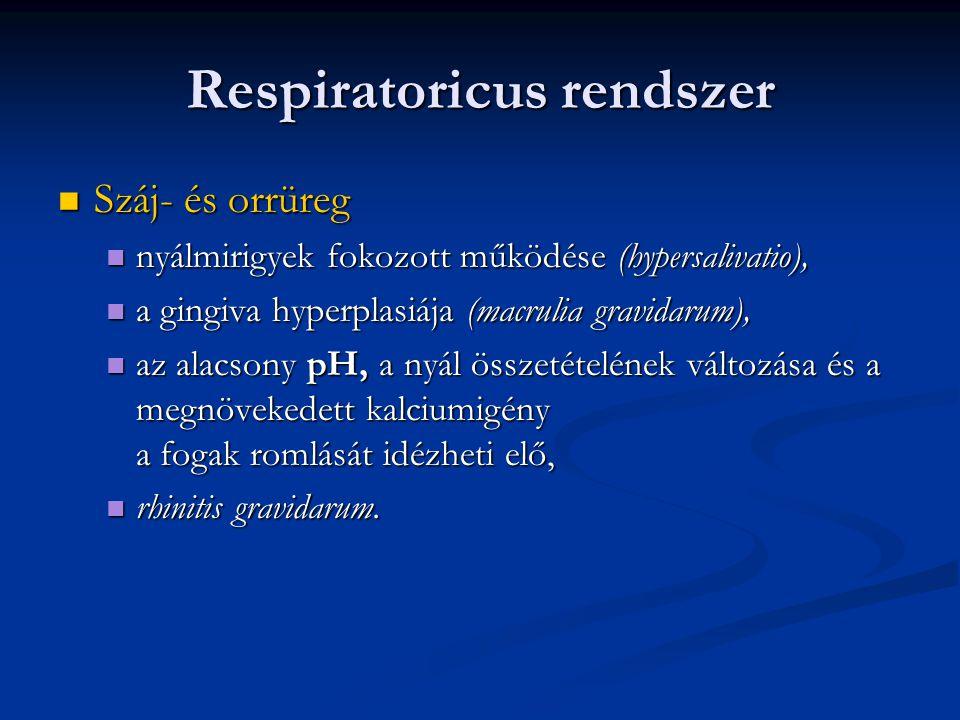 Respiratoricus rendszer  Száj- és orrüreg  nyálmirigyek fokozott működése (hypersalivatio),  a gingiva hyperplasiája (macrulia gravidarum),  az al