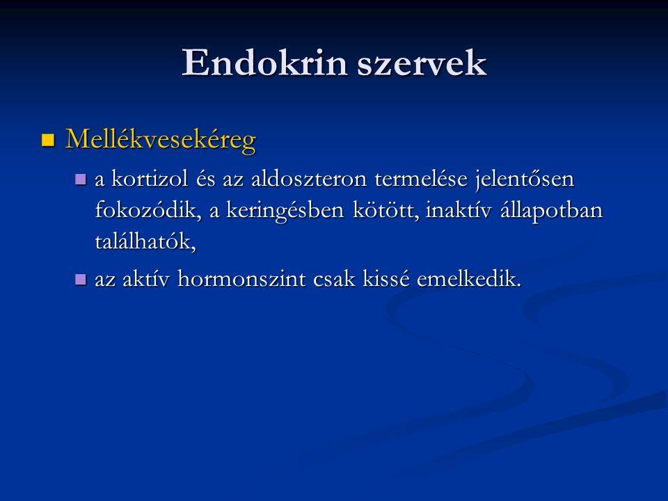 Endokrin szervek  Mellékvesekéreg  a kortizol és az aldoszteron termelése jelentősen fokozódik, a keringésben kötött, inaktív állapotban találhatók,