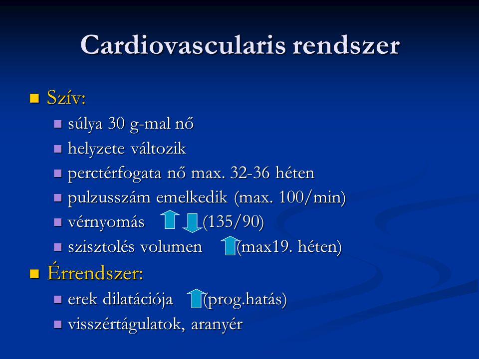 Cardiovascularis rendszer  Szív:  súlya 30 g-mal nő  helyzete változik  perctérfogata nő max. 32-36 héten  pulzusszám emelkedik (max. 100/min) 