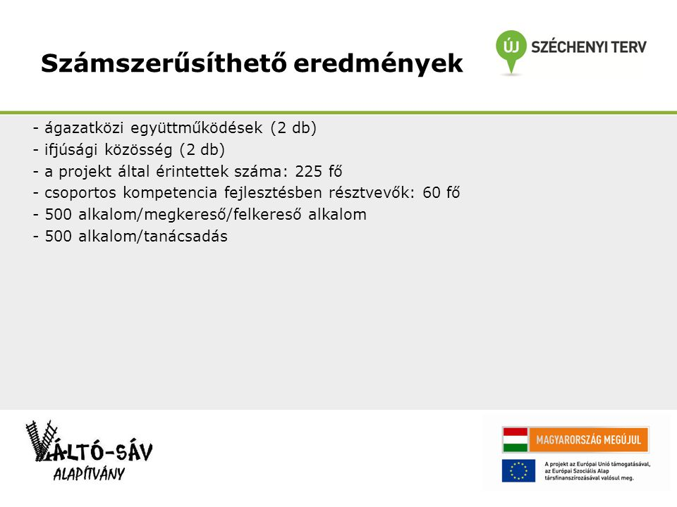 Számszerűsíthető eredmények - ágazatközi együttműködések (2 db) - ifjúsági közösség (2 db) - a projekt által érintettek száma: 225 fő - csoportos komp