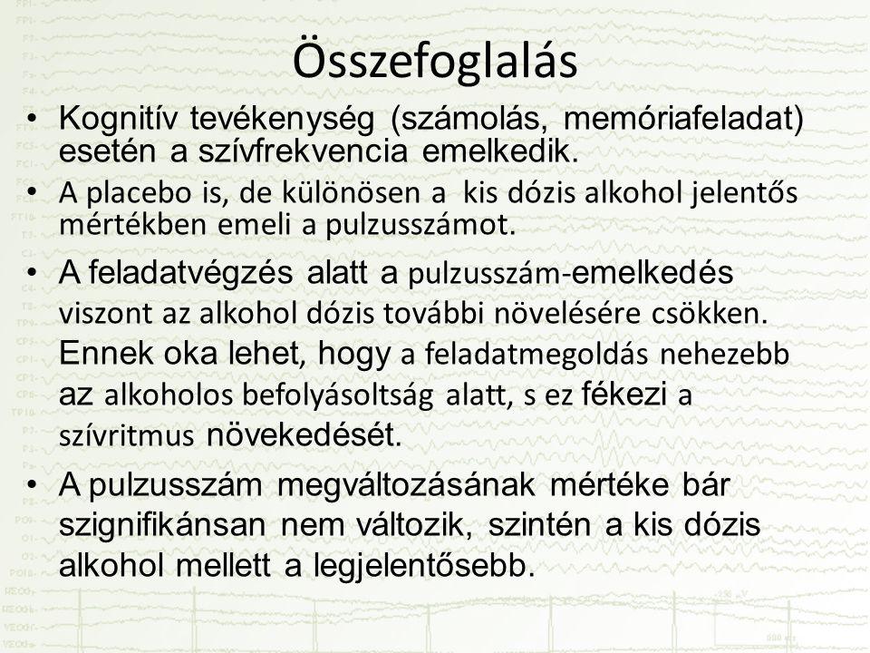 Összefoglalás •Kognitív tevékenység (számolás, memóriafeladat) esetén a szívfrekvencia emelkedik. • A placebo is, de különösen a kis dózis alkohol jel