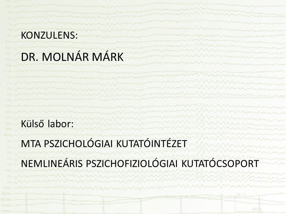 KONZULENS: DR. MOLNÁR MÁRK Külső labor: MTA PSZICHOLÓGIAI KUTATÓINTÉZET NEMLINEÁRIS PSZICHOFIZIOLÓGIAI KUTATÓCSOPORT