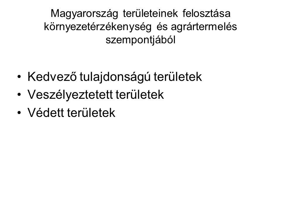 Magyarország területeinek felosztása környezetérzékenység és agrártermelés szempontjából •Kedvező tulajdonságú területek •Veszélyeztetett területek •V