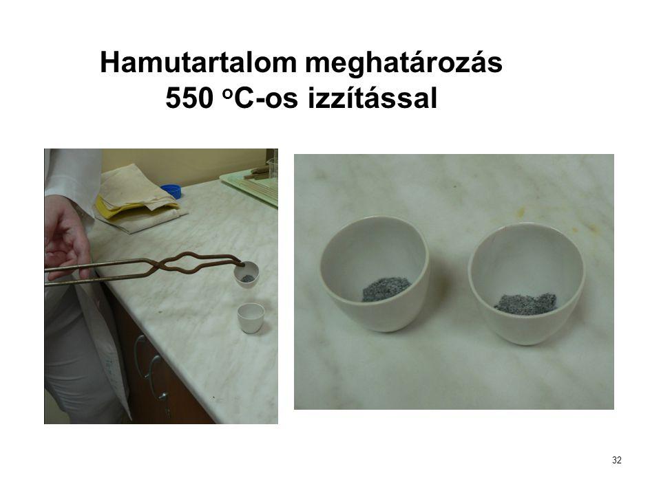 32 Hamutartalom meghatározás 550 o C-os izzítással