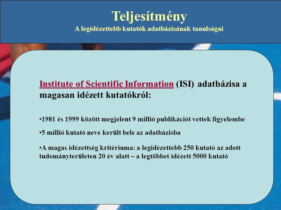 Teljesítmény A legidézettebb kutatók adatbázisának tanulságai Institute of Scientific Information Institute of Scientific Information (ISI) adatbázisa a magasan idézett kutatókról: •1981 és 1999 között megjelent 9 millió publikációt vettek figyelembe •5 millió kutató neve került bele az adatbázisba •A magas idézettség kritériuma: a legidézettebb 250 kutató az adott tudományterületen 20 év alatt – a legtöbbet idézett 5000 kutató