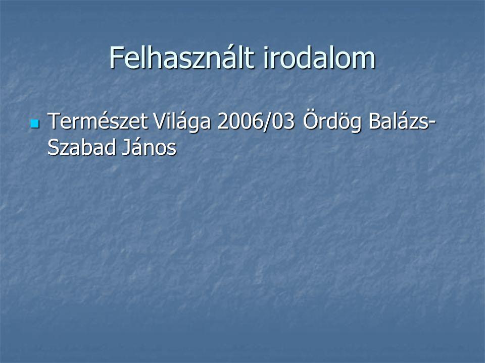 Felhasznált irodalom  Természet Világa 2006/03 Ördög Balázs- Szabad János