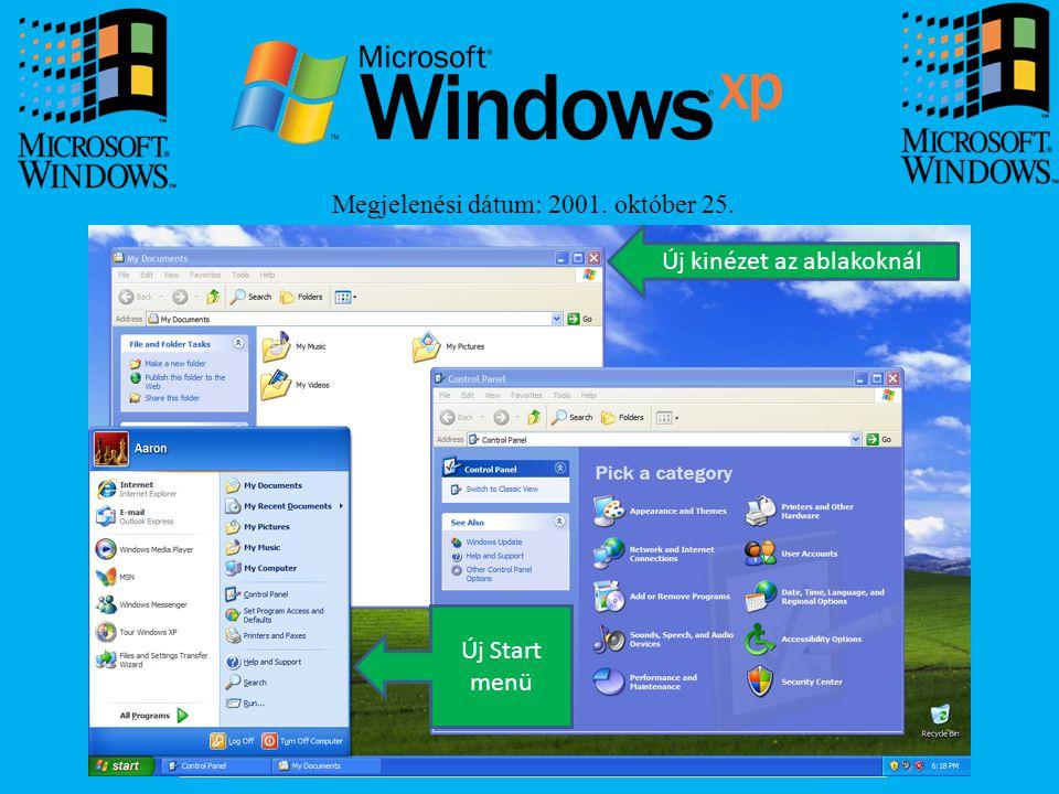 Megjelenési dátum: 2001. október 25. Új Start menü Új kinézet az ablakoknál