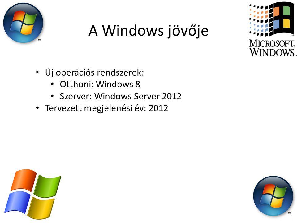 A Windows jövője • Új operációs rendszerek: • Otthoni: Windows 8 • Szerver: Windows Server 2012 • Tervezett megjelenési év: 2012