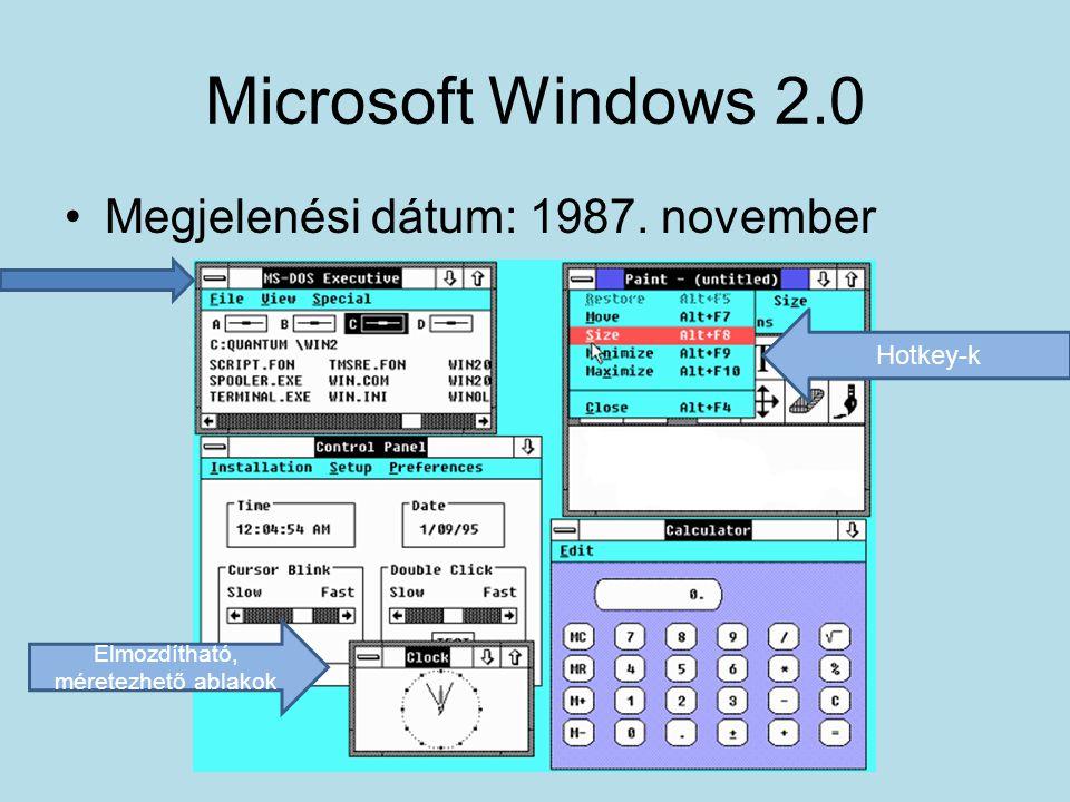 Microsoft Windows 2.0 •Megjelenési dátum: 1987. november Elmozdítható, méretezhető ablakok Hotkey-k
