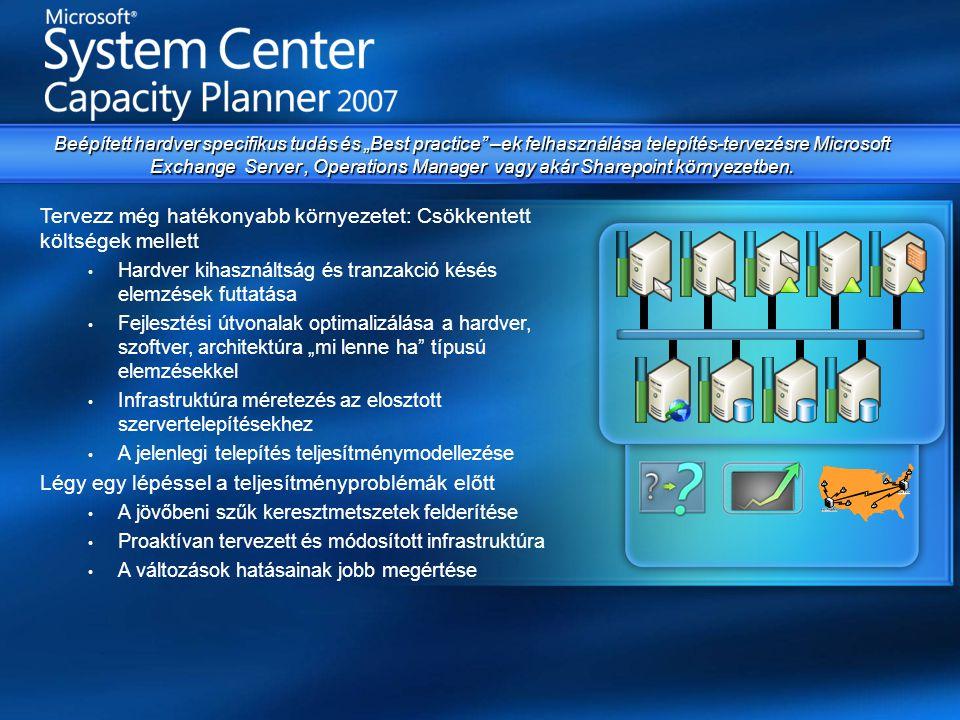 """Tervezz még hatékonyabb környezetet: Csökkentett költségek mellett • Hardver kihasználtság és tranzakció késés elemzések futtatása • Fejlesztési útvonalak optimalizálása a hardver, szoftver, architektúra """"mi lenne ha típusú elemzésekkel • Infrastruktúra méretezés az elosztott szervertelepítésekhez • A jelenlegi telepítés teljesítménymodellezése Légy egy lépéssel a teljesítményproblémák előtt • A jövőbeni szűk keresztmetszetek felderítése • Proaktívan tervezett és módosított infrastruktúra • A változások hatásainak jobb megértése Beépített hardver specifikus tudás és """"Best practice –ek felhasználása telepítés-tervezésre Microsoft Exchange Server, Operations Manager vagy akár Sharepoint környezetben."""