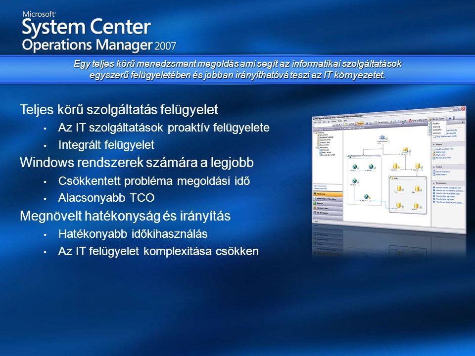 Egyszerűség • Egyszerűsített telepítés és felület • Költséghatékony infrastruktúra • Jobb időzítés a továbbfejlesztett Task Sequencing -el • Beépített mobil eszköz támogatás Szoftver terítés • Egységes Windows kliens/szerver telepítés • Vista és Office 2007 központi upgrade • Wake-on-Lan OS telepítéshez, sürgős patch-ek és szoftverek terítéséhez • Mobil eszközök kezelése és frissítése Biztonság • Kölcsönösen hitelesített adatcsere kliens/szerver oldalon • Network Access Protection (NAP) támogatás Konfiguráció menedzsment • Tervezett konfigurációs állapot mérése • Megfelelőségi riportok • Licenc - és eszközleltár Átfogó megoldás ami a megfelelő szoftvereket és javításokat gyorsan és költséghatékonyan biztosítja a felhasználóknak.