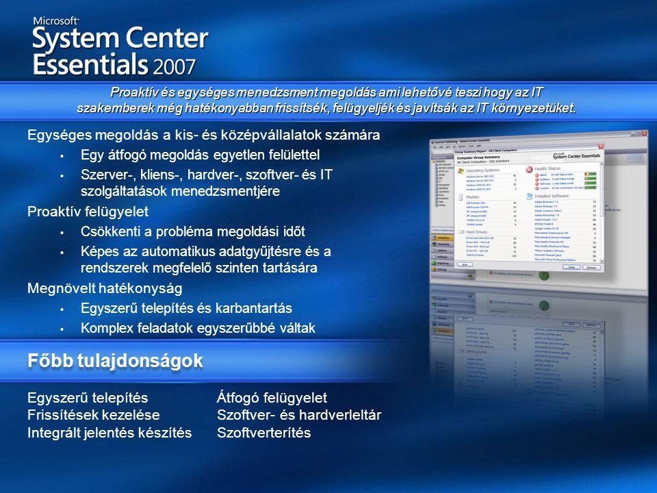Egyszerű telepítés Átfogó felügyelet Frissítések kezelése Szoftver- és hardverleltár Integrált jelentés készítés Szoftverterítés Egységes megoldás a kis- és középvállalatok számára • Egy átfogó megoldás egyetlen felülettel • Szerver-, kliens-, hardver-, szoftver- és IT szolgáltatások menedzsmentjére Proaktív felügyelet • Csökkenti a probléma megoldási időt • Képes az automatikus adatgyűjtésre és a rendszerek megfelelő szinten tartására Megnövelt hatékonyság • Egyszerű telepítés és karbantartás • Komplex feladatok egyszerűbbé váltak Proaktív és egységes menedzsment megoldás ami lehetővé teszi hogy az IT szakemberek még hatékonyabban frissítsék, felügyeljék és javítsák az IT környezetüket.