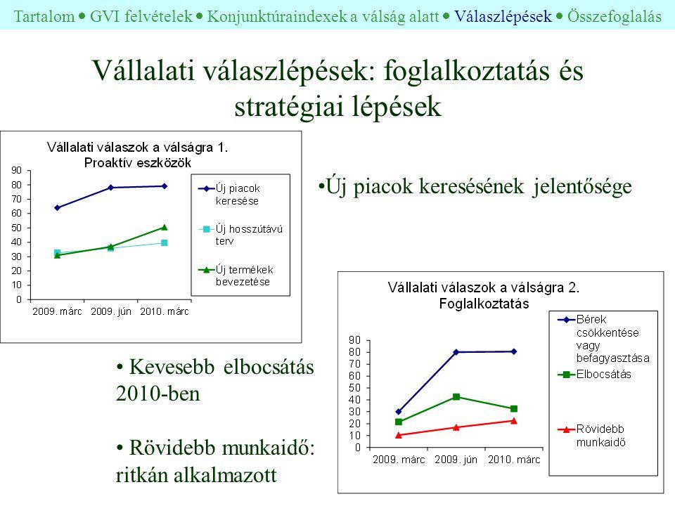 Vállalati válaszlépések: foglalkoztatás és stratégiai lépések • Kevesebb elbocsátás 2010-ben • Rövidebb munkaidő: ritkán alkalmazott •Új piacok keresésének jelentősége Tartalom  GVI felvételek  Konjunktúraindexek a válság alatt  Válaszlépések  Összefoglalás