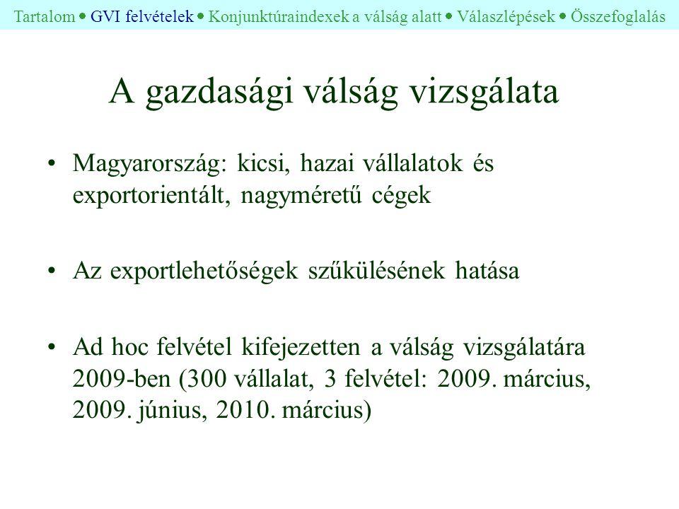 A gazdasági válság vizsgálata •Magyarország: kicsi, hazai vállalatok és exportorientált, nagyméretű cégek •Az exportlehetőségek szűkülésének hatása •Ad hoc felvétel kifejezetten a válság vizsgálatára 2009-ben (300 vállalat, 3 felvétel: 2009.