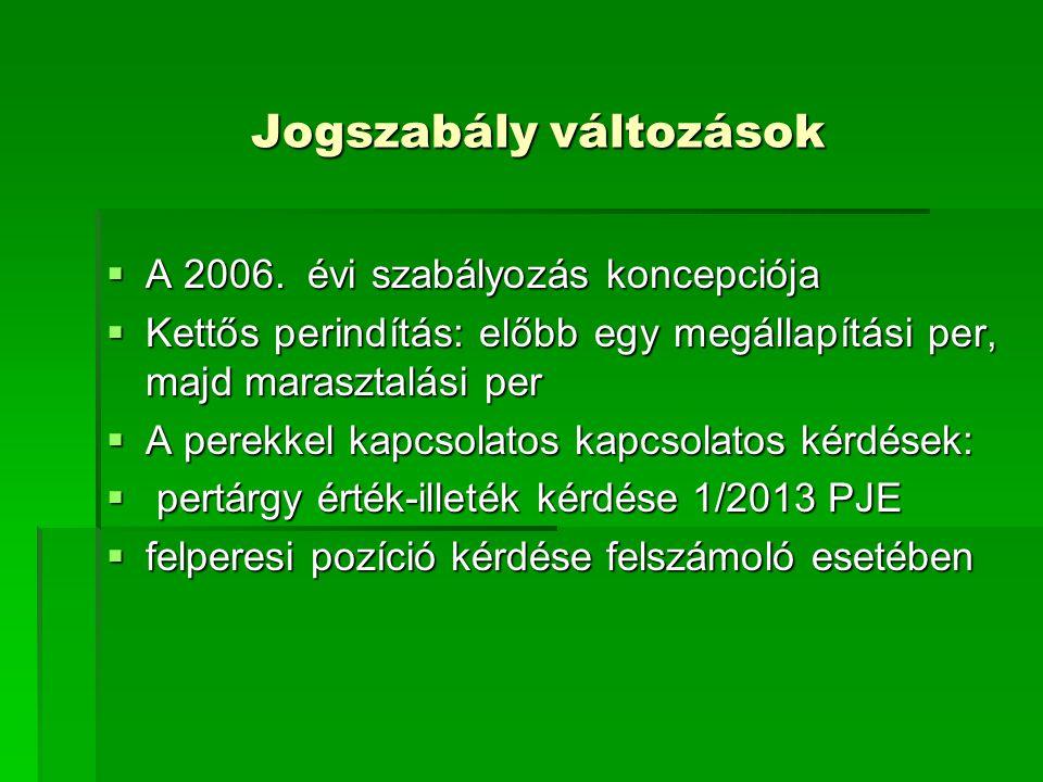 Jogszabály változások Jogszabály változások  A 2006. évi szabályozás koncepciója  Kettős perindítás: előbb egy megállapítási per, majd marasztalási