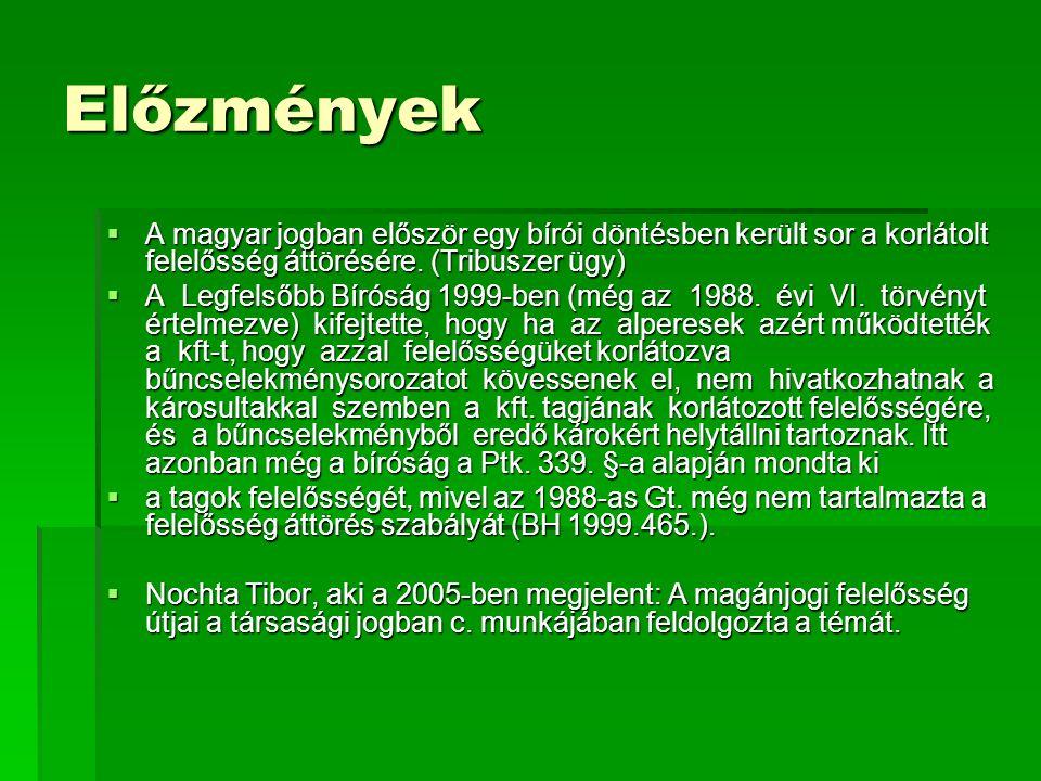 Előzmények  A magyar jogban először egy bírói döntésben került sor a korlátolt felelősség áttörésére. (Tribuszer ügy)  A Legfelsőbb Bíróság 1999-ben