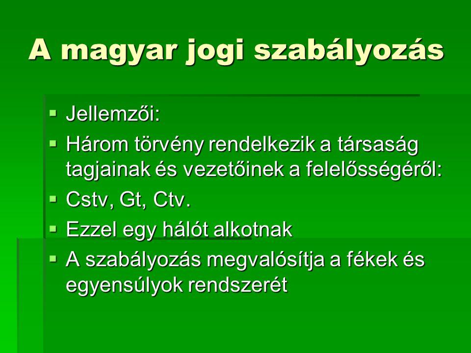 A magyar jogi szabályozás  Jellemzői:  Három törvény rendelkezik a társaság tagjainak és vezetőinek a felelősségéről:  Cstv, Gt, Ctv.  Ezzel egy h