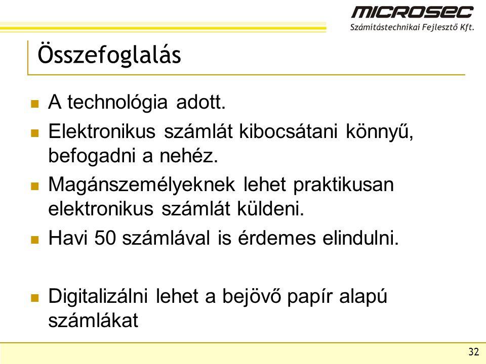 32 Összefoglalás  A technológia adott.