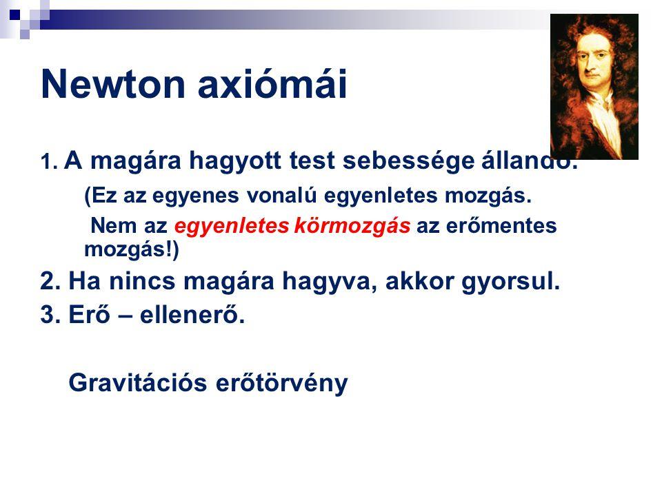 Newton axiómái 1. A magára hagyott test sebessége állandó. (Ez az egyenes vonalú egyenletes mozgás. Nem az egyenletes körmozgás az erőmentes mozgás!)