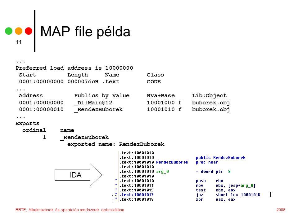 2006BBTE, Alkalmazások és operációs rendszerek optimizálása 11 MAP file példa...