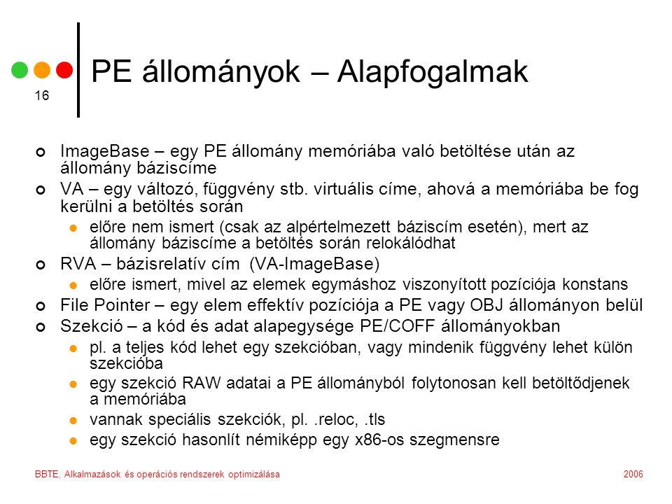 2006BBTE, Alkalmazások és operációs rendszerek optimizálása 16 PE állományok – Alapfogalmak ImageBase – egy PE állomány memóriába való betöltése után az állomány báziscíme VA – egy változó, függvény stb.